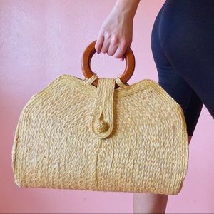 Vintage Yellow Straw Wooden Handle Bag